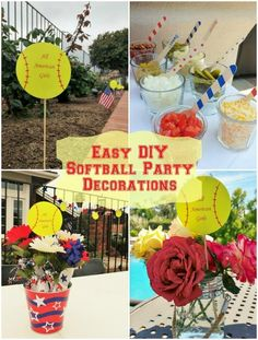 Cheap and Easy DIY Softball Party Decorations for an end of the year pool party along with other budget friendly party ideas. Softball Birthday Parties, Baseball Birthday, Grad Parties, Birthday Party Themes, Bonfire Birthday, Birthday Ideas, 11th Birthday, Softball Team Gifts, Softball Crafts