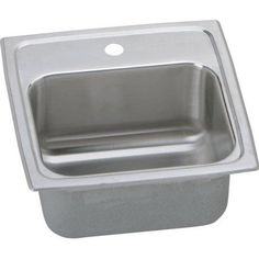 Elkay BLR15601 Gourmet Lustertone Stainless Steel Single Bowl Top Mount Bar Sink with Single Faucet Hole, Silver