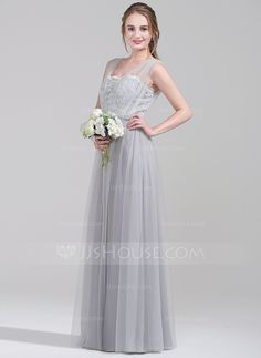 A-Line/Princess Sweetheart Floor-Length Ruffle Zipper Up Regular Straps Sleeveless No Silver Spring Summer Fall General Plus Tulle Lace Bridesmaid Dress
