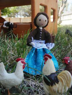 Farmer Doll Farmer's Wife Dollhouse Doll by WildflowerToys