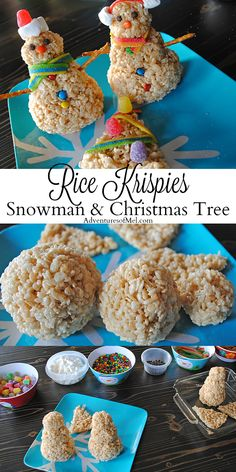 Create a new holiday tradition this Christmas. Rice Krispies treats make the cutest Rice Krispies snowman and Christmas tree, a holiday food craft kids will love decorating! How to make these festive treats. (how to bake cookies christmas treats) Rice Krispie Snowman, Christmas Rice Krispies, Rice Krispie Treats, Christmas Snacks, Christmas Cooking, Holiday Treats, Thanksgiving Treats, Christmas Games, Holiday Foods