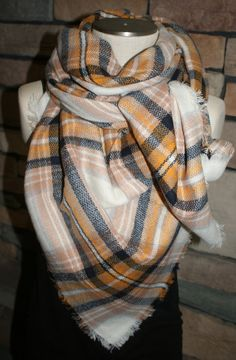Plaid Tartan Blanket Scarf Mustard and Tan Autumn Plaid Scarf Scarves Zara Style Plaid Bloggers Favorite-Monogram Avail-Womans Accessories by SewPriorAttireMitten on Etsy