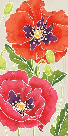 Sunshine Poppies Panel I Poster Print by Elyse DeNeige x China Painting, Fabric Painting, Fabric Art, Acrylic Flowers, Watercolor Flowers, Watercolor Paintings, Batik Art, Silk Art, Fine Art Prints