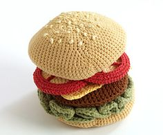 #Crochet Jumbo Burger with Cotton-Ease; free pattern Repinning this for @Jenn…