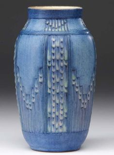 NEWCOMB COLLEGE Vase crisply carved in the Espanol pattern by A. F. Simpson, 1929