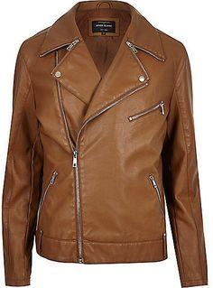 $140, Brown Leather Biker Jacket: River Island Light Brown Leather Look Biker Jacket. Sold by River Island. Click for more info: https://lookastic.com/men/shop_items/326725/redirect
