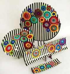 Fused glass platters. Been seeing this pattern around a lot lately but I like it. Eye catching.