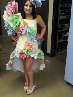 My daughter's school project - to make an outfit for their Trash Fashion Runway show.  Completely out of poster board and twisty paper!  She got a 100!!