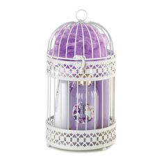 MIDNIGHT WISTERIA WHITE METAL LANTERN BATH SPA SET~10016917