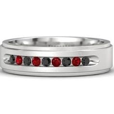 Men's Sterling Silver Wedding Ring with Black Diamond & Ruby - Crown Band (2mm gem)