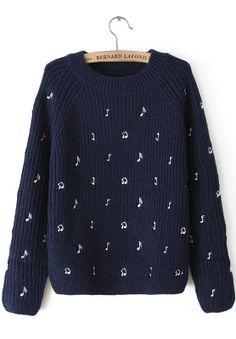 Navy Long Sleeve Note Embroidered Sweater US$32.46