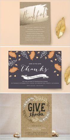 Thanksgiving cards worth fawning over! Take a peek at everything Minted has to o… - Thanksgiving Design Vintage Invitations, Diy Invitations, Wedding Invitation Design, Wedding Stationery, Invitation Ideas, Typography Prints, Hand Lettering, Corporate Holiday Cards, Fall Birthday