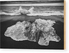 """Ice in Iceland Wood Print for sale. Iceberg on a black beach, cool ice from the glacier lagoon Jokulsarlon, South Iceland, Europe. The image gets printed directly onto a sheet of 3/4"""" thick maple wood. Wood prints are extremely durable and add a rustic feel to any image. Click through and enjoy the texture and depth of this artwork in your home. Matthias Hauser - Art for your Home Decor and Interior Design."""