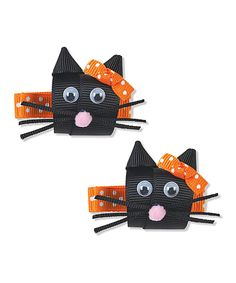 Black Cat Hair Clip Set