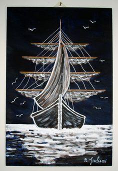 Acrilico su legno 20x30  Veliero nel buio della notte