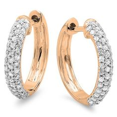 0.50 Carat (ctw) 10k Rose Gold Round Diamond Ladies Pave Set Huggies Hoop Earrings 1/2 CT DazzlingRock Collection http://www.amazon.com/dp/B00IFXH7VE/ref=cm_sw_r_pi_dp_QySVub0XW60T9