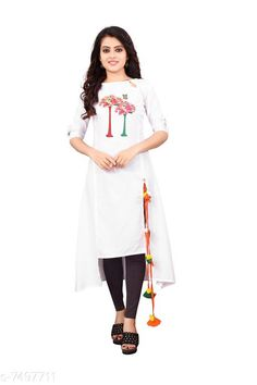 Kurtis & Kurtas Women'S Printed Rayon Slub  Kurti Fabric: Rayon Slub Sleeves: 3/4 Sleeves Are Included Size:  M - 38 in L - 40 in XL - 42 inXXL - 44 in Length: Up To 46 in Type: Stitched Description: It Has 1 Piece Of Women's Kurti Work: Embroidered & Tassel Work Country of Origin: India Sizes Available: M, L, XL, XXL   Catalog Rating: ★4.1 (535)  Catalog Name: Women Rayon Slub A-line Solid Yellow Kurti CatalogID_398614 C74-SC1001 Code: 534-7497711-4011