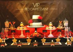 VIP Red Carpet Event 21st Dessert table | CatchMyParty.com