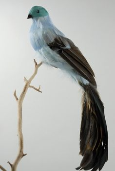 "Blue & Brown 14""  Bird with  Long  Feather Tail  $4.99 each / 3 for $3.59 each  Artificial Birds"