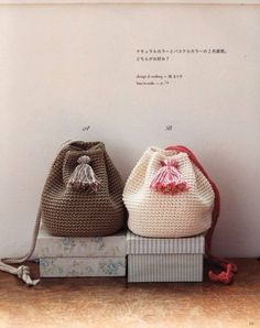 """New Cheap Bags. The location where building and construction meets style, beaded crochet is the act of using beads to decorate crocheted products. """"Crochet"""" is derived fro Crochet Backpack Pattern, Japanese Crochet Patterns, Crochet Magazine, Boho Bags, Knitted Bags, Bead Crochet, Yarn Colors, Purses And Bags, Creations"""