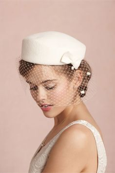 Don't need the rabbit fur. Definitely can make something like this, but love the design. :) Fair Weather Pillbox in SHOP Shoes & Accessories Headpieces at BHLDN