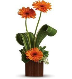 Bamboo Sunshine - TFWEB619 ($41.36) - Surprise someone special with three sunny orange gerbera flowers delivered in a stylish contemporary cube vase made of real bamboo. It will brighten their day-- for days.