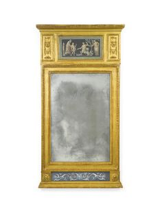 A Gustav IV Swedish Neoclassical carved giltwood and polychrome-decorated mirror circa 1810 | lot | Sotheby's