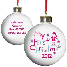 A special Personalised My 1st Christmas Bauble is always a lovely gift to give to new parents at their child's first Christmas time.This one is bound to take pride of place on their Christmas tree. On the front, a jolly, colourful Santa stands next to the words