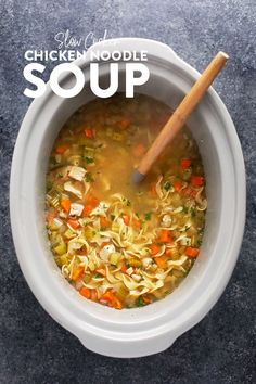 Need a hot soup that warms the soul and is the perfect remedy when under the weather? Make our Slow Cooker Chicken Noodle Soup. Made with carrots, celery, onion, chicken breast, and wholesome spices, this chicken noodle soup crock pot recipe is perfect for any palate.