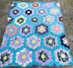 ANTIQUE QUILT TOP  Flower Garden Fabrics  Flour Sacks Hand Pieced Needs Repair.