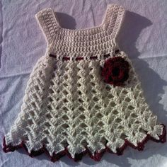 Cream / Burgundy  Baby Dress by CrochetingPrecious on Etsy  A handmade, crocheted baby girl dress and large flowers. Dress ties in the back.  . Colors : Cream/ Burgundy   Perfect for a baby shower gift, baby pictures, photography prop, baptism, christening, or special occasion dress.  This set is absolutely adorable The perfect accessory to any baby's wardrobe.  Size Will fit 6 Up to 12 Months or bigger or smaller depending on baby size   Once baby grows out of the dress you could use it as ...