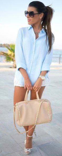 Spring / Summer - street chic style - party look - beach look - light blue shirt + white lace shorts + nude handbag + golden necklace + nude or white heeled sandals