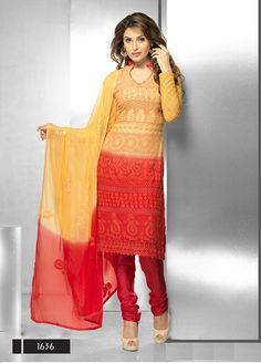 Cream and Red Chiffon Straight Suit