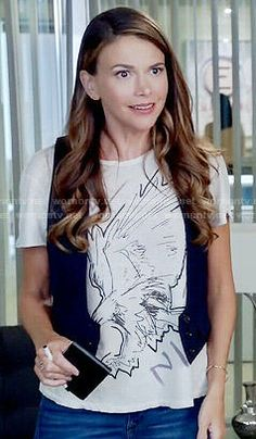 Liza's eagle graphic tee on Younger. Outfit Details: https://wornontv.net/55525/ #Younger