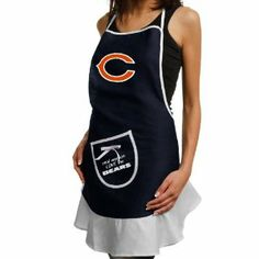 Chicago Bears Ladies Navy Blue Hostess Apron by Pro Specialties Group. $19.95. Chicago Bears NFL Hostess Apron. For all the female NFL fans; now you can express your FANHOOD while grilling or cooking! The NFL Hostess Apron comes in twill blend and feature the full color logo and a pocket showing the true feelings for your favorite NFL team. A perfect gift for tailgating or backyard grilling!. Save 51% Off!