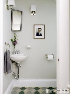SMALL SINK solution for very tiny powder room in living room area Very Small Bathroom, Tiny Bathrooms, Yellow Bathrooms, Beautiful Bathrooms, Modern Bathroom, Bathroom Ideas, Cloakroom Ideas, Farmhouse Bathrooms, Small Sink