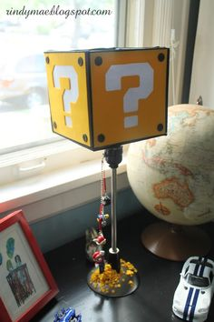 Custom Super Mario Block Lamp made for Mario themed birthday party gift. Great for a gamer's Nintendo room.