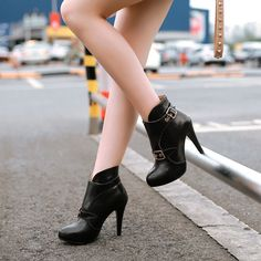 Women'S Stiletto High Heel Shoes Pointed Platform Pu Leather Party Ankle Boots