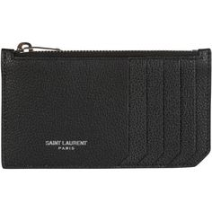 Saint Laurent Wallets ($180) ❤ liked on Polyvore featuring bags, wallets, black, card case wallet, embossed wallet, credit card holder wallet, full grain leather wallet and zip top bag