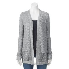 Juniors' Cloud Chaser Pointelle Cardigan, Girl's, Size: Small, Med Grey