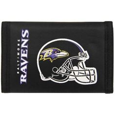 Baltimore Ravens Nylon Wallet by Rico. $4.39. 3 sewn in pockets. 5 inches by 3 inches. Compartment for money. Velcro closure. Plastic photo and credit card holder. This is a special order item and takes longer to leave our warehouse, which is reflected in the estimate above Keep your money and valuables in this classic surf style nylon wallet. Feature money compartment, three inner compartments, three photo sleeves, hook and loop fastener closure.