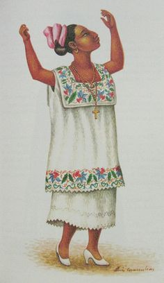 Yucatec Maya Woman ~ Costume illustrated by Luis Covarrubias ~ 1955 ~ Luis Covarrubias (1919-1987) was born in Mexico City and he published and illustrated books about folk art, native costumes and dances. The Yucatec Maya are Middle American Indians of the Yucatán Peninsula in eastern Mexico. The Yucatec were participants in the Maya civilization