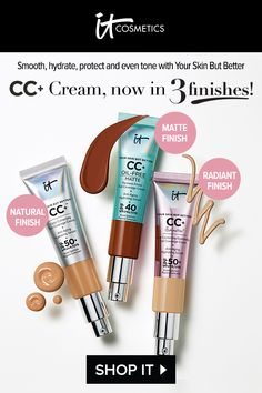IT's your best-selling, award-winning beauty miracle! CC+ Cream with SPF is your one step for color-correcting full coverage, anti-aging skincare and SPF UVA/UVB broad-spectrum physical sunscreen. Beauty Makeup Tips, Beauty Skin, Eye Makeup, Beauty Ideas, Makeup Art, Diy Beauty, Cc Creme, It Cosmetics Cc Cream, Makeup Looks