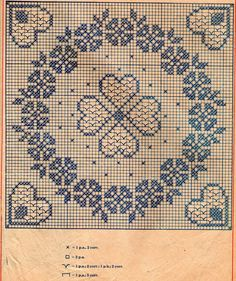 filet crochet doily with graphic - flowers and hearts