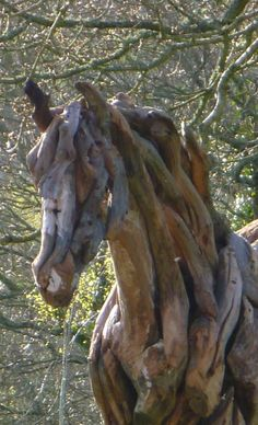 The Young Arabian (detail) - Life size driftwood horse by sculptor Heather Jansch