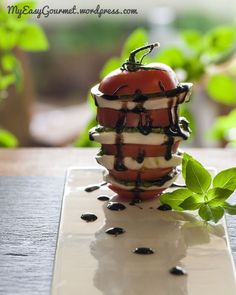Caprese tower drizzled with thick balsamic, layered with pesto and fresh mozzarella. Now that's PRETTY! Healthy Salad Recipes, Vegetarian Recipes, Fresh Mozzarella, Food Inspiration, Yummy Treats, Good Food, Veggies, Tower, Tasty