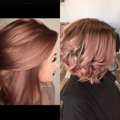 Inspiration photo on the left.    visit 1: Bleach to a pale yellow.. (Which took twice, using OLAPLEX) Then 8rv permanent + clear Redken in equal parts with a splash of 6t shades EQ +10 vol applied to wet hair at the bowl for 20 min. shampoo, then toned with 6t and clear SEQ  visit2: put 5n on roots with 10 vol for the shadow root about 2 inches out, washed after 35 minutes then at the bowl for the rose gold I applied shades eq cream 9cg + 7g and 10 vol on the towel dried hair for 20 minutes