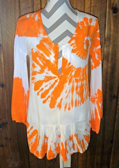 XS Orange Spiral High Low Tunic Top Cover-up Bell 3/4 Sleeve Tie Dye Blouse #LocalCelebrity #Tunic #Casual