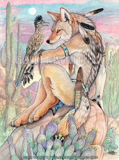 """Arroyo Amigos"" by Christy ""Goldenwolf"" Grandjean Watercolor and colored pencil on 9″ X 12″ Watercolor paper. 2011. Prints and merchandise available: http://www.goldenwolfen.com/site/?wpsc_product_category=animalpeople"