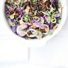 RECIPE : warm purple potato salad with garlicky funnel chanterelles